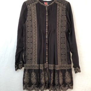Johnny Was Embroidered Mini Dress - Sz M - Brown